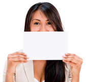Woman holding a placard — Stock Photo