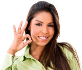Woman with an ok sign — Stock Photo