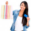 Female shopper with a credit card — Stock Photo