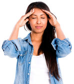 Woman with a headache — Stock Photo