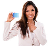 Business woman with a credit card — Stock Photo