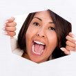 Trapped woman screaming — Stock Photo
