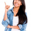 Happy woman pointing an idea — Stock Photo