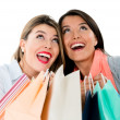 Very happy shopping girls — Stock Photo