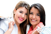 Happy female shoppers — Stock Photo