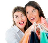 Surprised female shoppers — Stock Photo