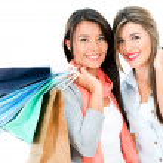 Happy shopping girls — Stock Photo