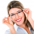 Woman trying out glasses — Foto de Stock