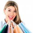 Excited shopping woman — Stock Photo