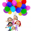 3D kids with balloons — Stock Photo