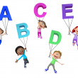 3D kids with letters of the alphabet — Stock Photo #31205915