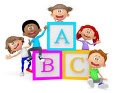 3D group of school children — Stock Photo