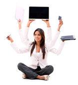 Business woman multitasking — Stock Photo