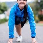 kadın koşma için ayarla — Stok fotoğraf