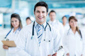 Doctor leading his team — Stock Photo