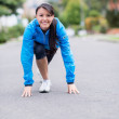 Fit woman ready to run — Stockfoto