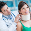 Woman with a neck injury — Stock Photo