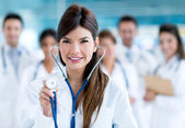 Female doctor with a stethoscope — Stock Photo