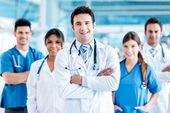 Doctor with his team — Stock Photo