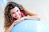 Woman with a Pilates ball — Stok fotoğraf