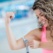 Strong woman at the gym — Stock Photo