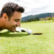 Golf player cheating — Stock Photo #31846611