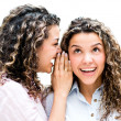 Twins telling a secret — Stock Photo