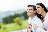 Thoughtful couple outdoors — Stock Photo