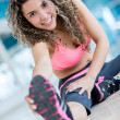 Stock Photo: Gym woman stretching