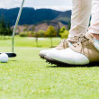 Stock Photo: Golf player at the green