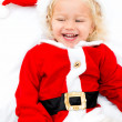 Girl playing Santa — Stock Photo