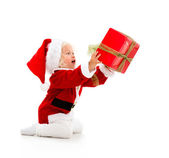 Girl giving a Christmass gift — Stock Photo