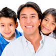 Happy father with kids — Foto Stock
