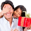 Stock Photo: Girl giving father present