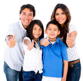 Happy family with thumbs up — Stock Photo
