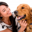 Happy woman with a dog — Stock Photo