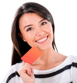 Woman holding a credit card — Stock Photo