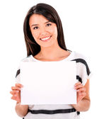 Woman with a banner — Stock Photo