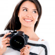 Stock Photo: Thoughtful female photographer