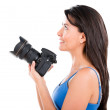 Stock Photo: Womholding camera
