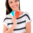Woman holding credit cards — Stock Photo #32807577