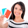 Woman with credit and debit cards — Stock Photo #32807909
