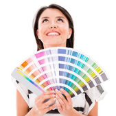 Woman with a color guide — Stock Photo