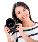 Happy female photographer — Stock Photo