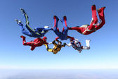 Skydivers in the sky — Stock Photo