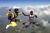 Skydivers perform pieces. — Stock Photo