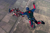 Skydivers in relative work. — Stock Photo