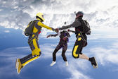 Skydivers collects figure in freefall — Stock Photo