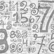 Hand drawn numbers paper grid background — Stock Photo