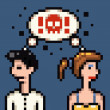 Retro pixel marriage argue — Stock Photo
